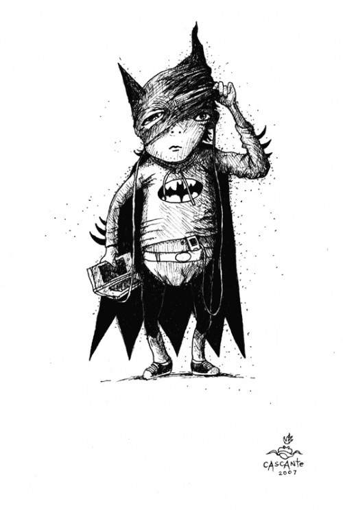 Batman illustration -Kid in Batman costume