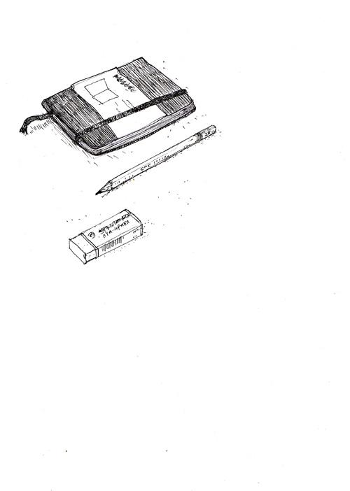 Moleskine, pencil, and eraser