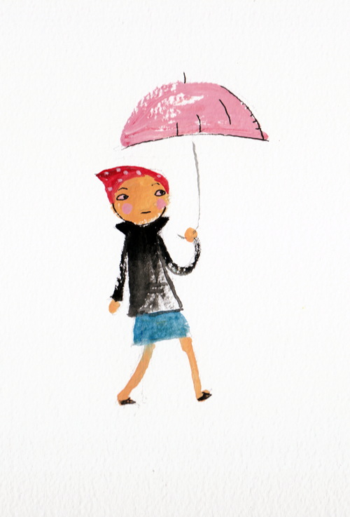 lady with pink umbrella