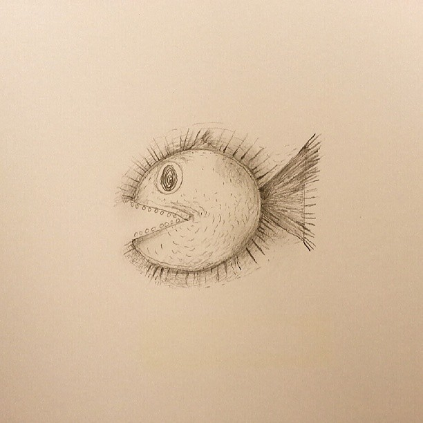 Pacman Fish #drawing #thewipe #monday #statigram #webstagram #instagood #fish #pacman #pencil #sketch #hk