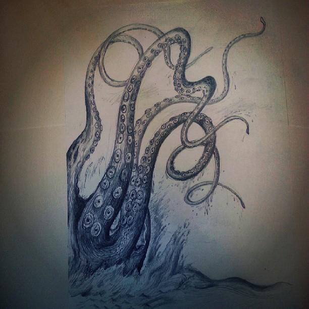 Release the Kraken !  For pixel ! #drawing #illustration #monster #saturday #today #kraken #webstagram #statigram #ink361 #thewipe #instagood