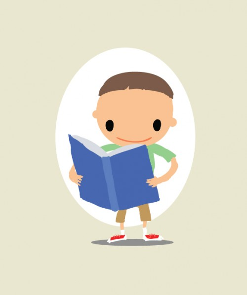 vector illustration of a kid reading a book